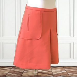 Anthro Maeve Pleated Coral Mini Skirt with Pockets